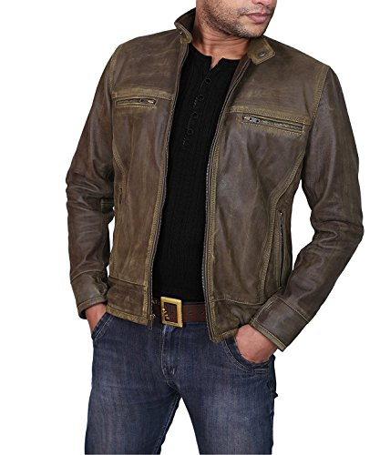 Ultimo Fashions Men Vintage Cafe Racer Distressed Retro Biker Leather Jackets | All Sizes (XXS - 3XL) (L (Chest - 48