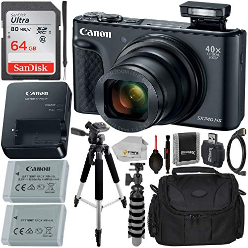 "Canon PowerShot SX740 HS Digital Camera with Essential Accessory Bundle - Includes: SanDisk Ultra 64GB SD Memory Card, Extended Life Replacement Battery, Carrying Case, 57"" Professional Tripod & More from Canon"