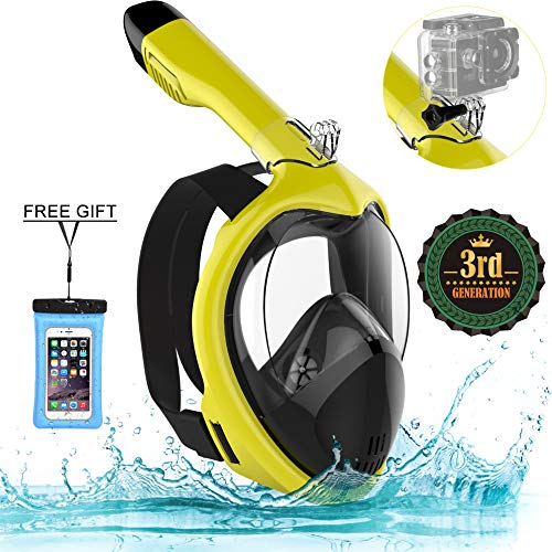 Poppin Kicks Full Face Snorkel Mask for Adult Youth and Kids | 180° Panoramic View Anti-Fog Anti-Leak Easy Breathe No Mouthpiece Design | GoPro Compatible w/Detachable Camera Mount Bumblebee L/XL