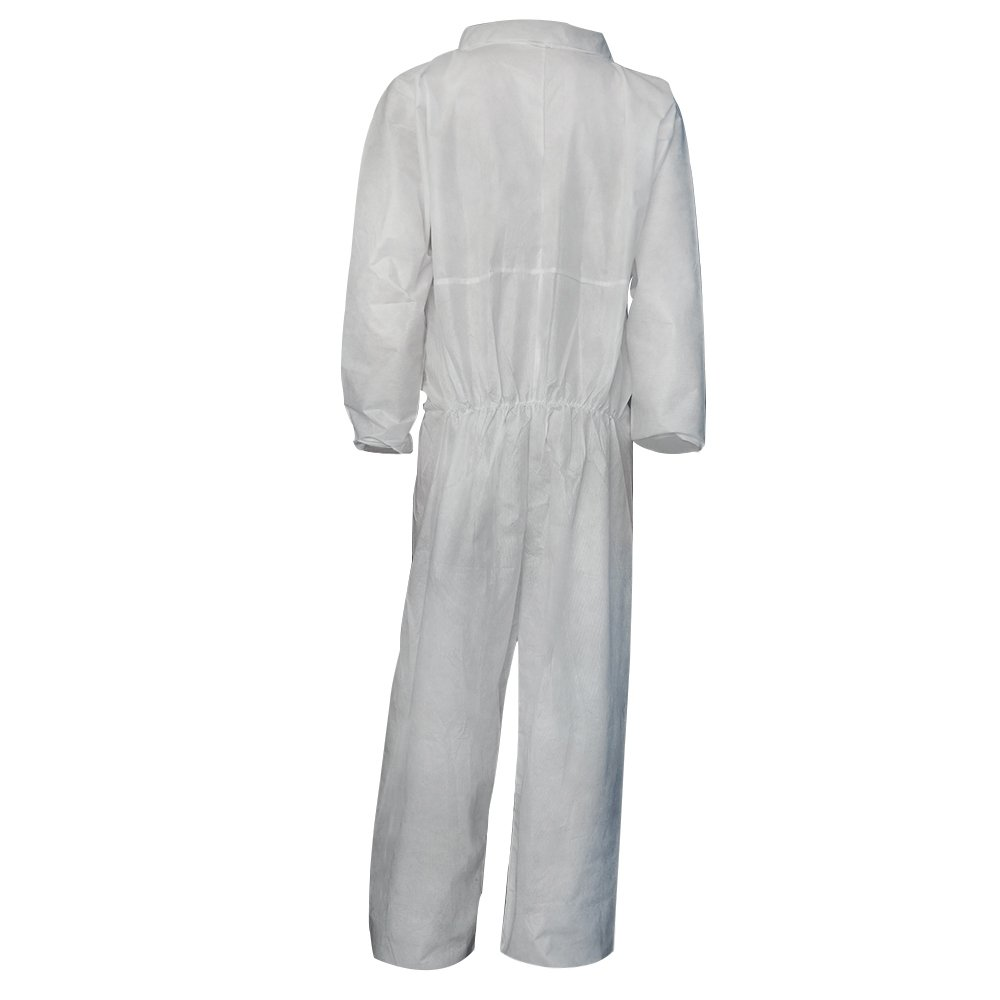 Raytex 5 Pack Disposable Coveralls Jumpsuits for Men White SMMS Chemical Protective Paint Suit Elastic at Cuffs, Ankles,Waist(Large) by Raytex (Image #2)