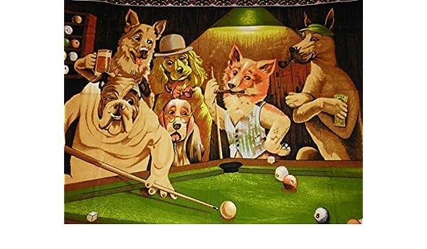 VIERNES la oportunidad piscina jugando perros pintura al óleo sobre lienzo pared arte moderno imágenes para decoración del hogar (24 x 36 inch, sin marco): Amazon.es: Hogar