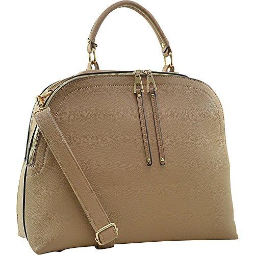 Dasein Women's Classic Buffalo PU Leather Domed Satchel Handbag Work Bag Shoulder Bag with Shoulder Strap (2730 Nude Classic)