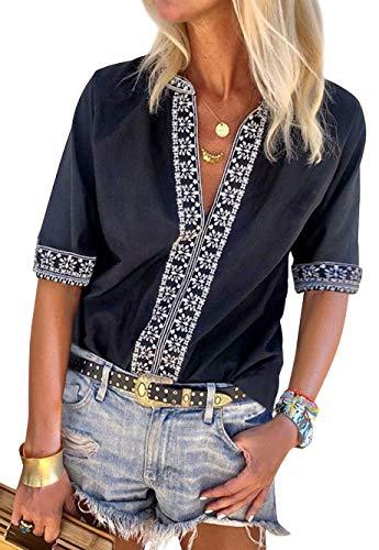 Women's Tops Boho Fashion Shirts Tops Summer Loose Short Sleeve V Neck Casual BlouseBlack XXL
