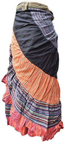 Larga Mujer Washed Little Impreso Floral Falda Non Asimétrico Patckwork Patchwork Dobladillo Katmandú Wrap FqCw50xCf