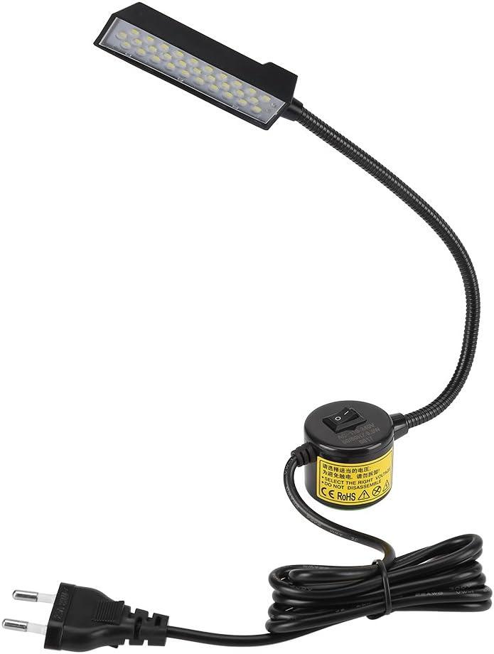 HEEPDD Luz de máquina de Coser, 30 LED Luz de Trabajo Flexible de Cuello de Cisne con Base magnética para Bancos de Trabajo de máquinas de Coser Lámparas de tornos(Enchufe de la UE)