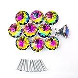 Mullsan Crystal Glass Diamond Shape Drawer Knob Pull Handle for Caebinet, Drawer30mm 10sets (Rainbow)