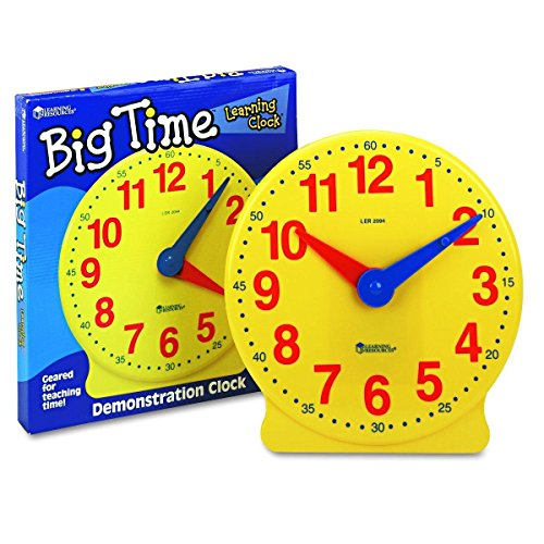 - Learning Resources Big Time Learning Clock, 12 Hour, Basic Math Development, Ages 5+