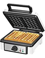 Waffle Maker, 2-Slice Belgian Waffle Iron with 7 Adjustable Temperature Control, Waffle Machine with Non-Stick Plates and Mess-Free Moat, Dual Indicator Lights, Compact Design, Easy to Clean and Store, 1200W