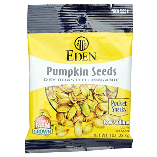 - Eden Organic Pumpkin Seeds, Dry Roasted and Salted, Pocket Snacks, 1 Ounce (Pack of 12)
