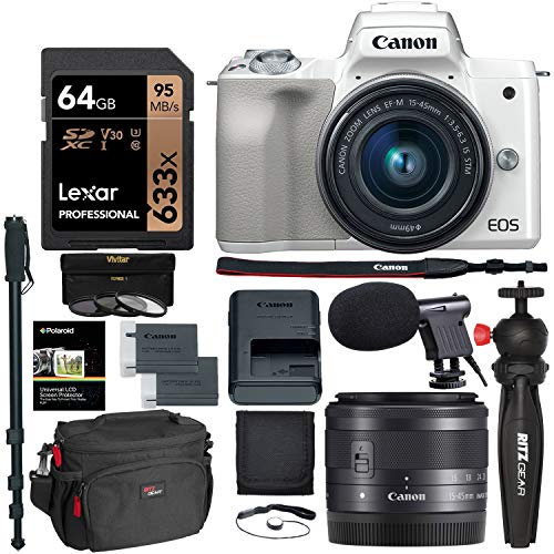 Canon EOS M50 Mirrorless Camera with 15-45mm Lens with Lexar 64GB U3 Memory Card and Accessory Bundle