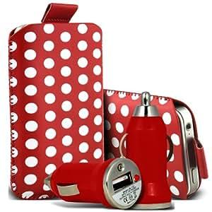 Alcatel One Touch Star 6010d Protección Premium Polka PU ficha de extracción Slip In Pouch Pocket Cordón piel cubierta de la cubierta del caso Rápido y Bullet Rápido Cargador USB para coche con carga de luz LED de color rojo y blanco por Spyrox