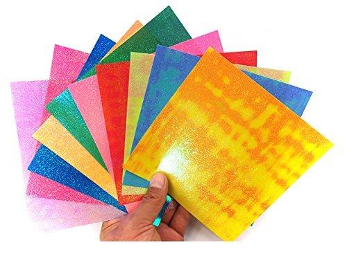ALL in ONE 10 Color Aurora Borealis Glitter Paper Stack Art Craft Project 10/pkg 15x15cm