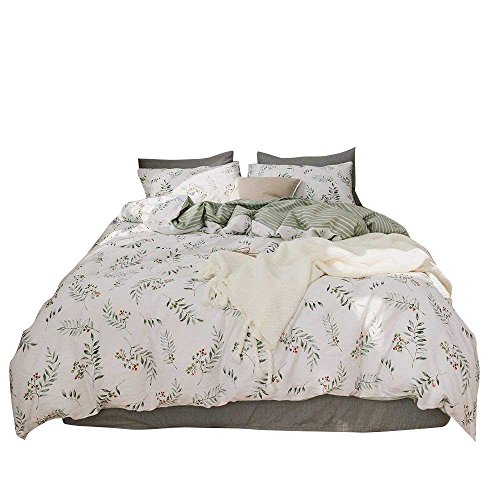 XUKEJU Flower Patterns 100% Pure Cotton Reversible 3PCS Printing Duvet Cover Super Soft for Kids Teens Adults Athena Twin Size]()