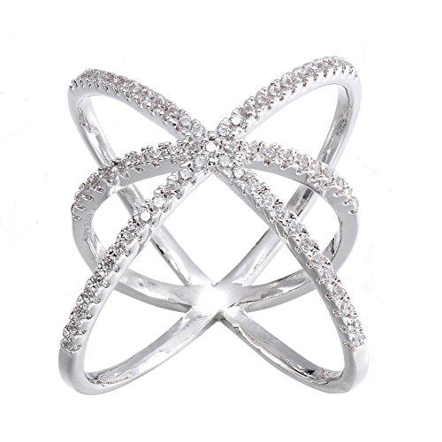 KIVN Fashion jewelry Cross Over Tiny Pave CZ