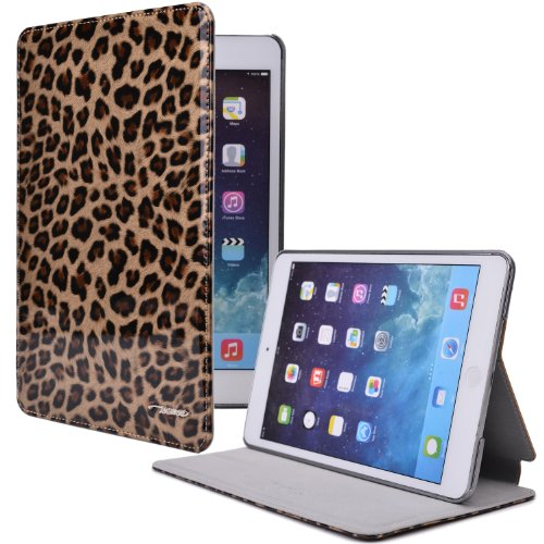 TS Case Apple iPad Mini Leather Folio with Leopard Print (Genuine Leather Cover, Smooth Leather Interior, Scratch-/water-resistant Coating, Easy Snap-in Shell, Auto Sleep/Wake, Multiple Angle Stand)