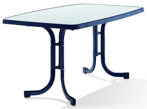 Amazon.de: SIEGER Gartentisch oval 90x150 cm, blau ...