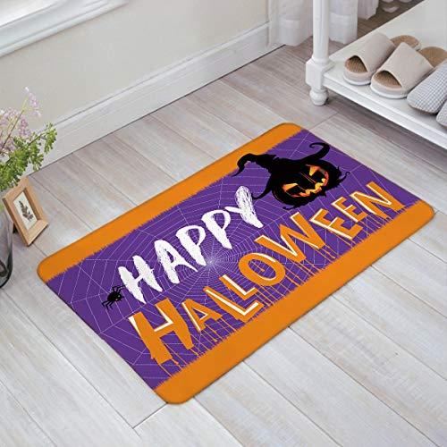 Milala-Design Halloween Theme Spider Pumpkin Pattern Door Mats Indoor Kitchen Floor Bathroom Entrance Rug Mat Carpets Home Decor Absorbent Bath Doormats Rubber Non Slip ()