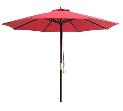 Charmant SUNBRANO 9 Ft Wood Frame Patio Umbrella Outdoor Garden Cafe Market Table  Umbrella Pulley Lift With