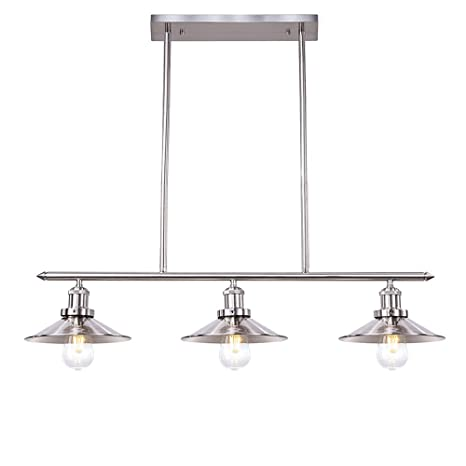 Wellmet Modern Kitchen Light Fixtures With Brushed Nickel Finish, Chrome 3 Lights  Kitchen Island