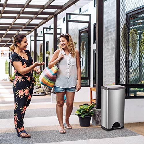 Metal Trash can Step Trash can Stainless Steel Trash can with Removable Inner lid for Home Kitchen Bathroom Office 10 Gallon / 30L by BestMassage (Image #3)