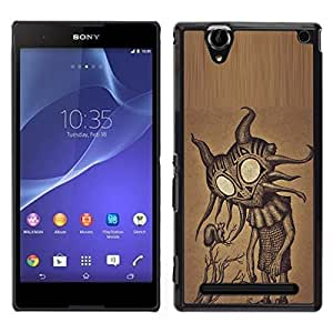 For Sony Xperia T2 Ultra , S-type® Cute Friendly Big Eyes Alien Art - Arte & diseño plástico duro Fundas Cover Cubre Hard Case Cover
