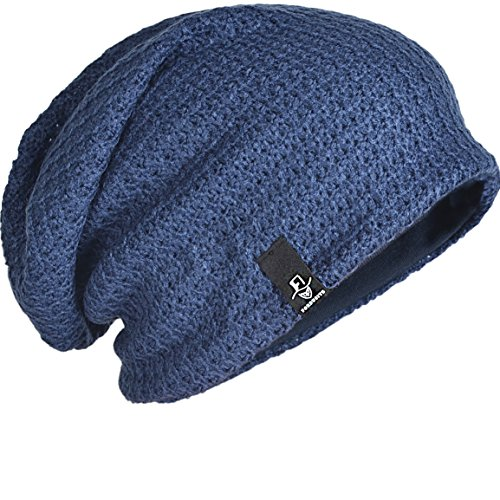 FORBUSITE Mens Slouchy Long Oversized Beanie Knit Cap for Summer Winter B08 (Navy Blue)