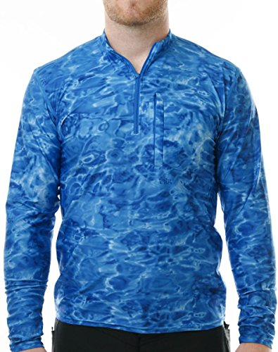 Aqua Design Men's Spear Fishing 1/4 Zip High Collar Long Sleeve Rash Guard Shirt, Royal Ripple, L