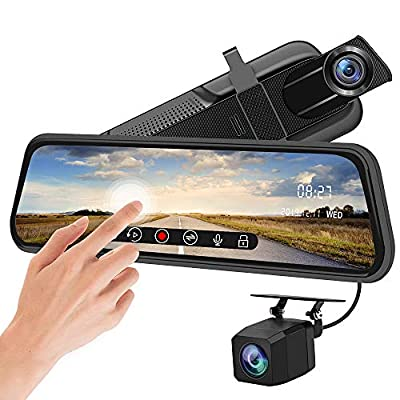 Backup Camera 10 inch Mirror Dash Cam Dual Lens Front Rear Dash Camera 1080P Full Touch Screen Video Streaming Rear View Mirror Loop Recording, Parking Monitor, Night Vision, Waterproof Rear Camera: Car Electronics