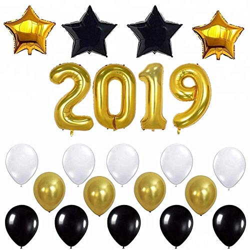 2019 Balloons Gold Decorations Banner – Large, Black and Gold Star Mylar Foil and Latex Ballon Party Star Balloons, New Year Eve Party Supplies Inside Sphere