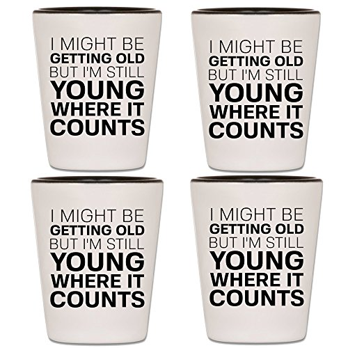 (Over The Hill Shot Glass - Funny Birthday Gag Gift For Men Turning 40, 50, 60 or 70 - Best Party Supplies, Drinking Games & Accessories For Old Farts - Joke Valentine's Day or Bday Present For Him (4) )