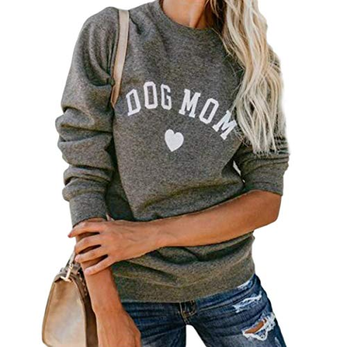 Jahurto Dog Mom Letters Print Crewneck Sweatshirt Women Long Sleeve Pullover Hoodies (Color : Grey, Size : M)