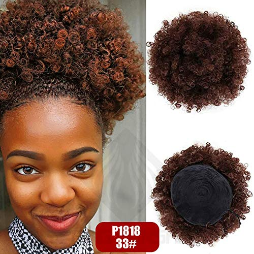 - Synthetic Afro Puff Curly Chignons Hair Scrunchies Extensions Hair Wrap Ponytail Hair Tail Updo Fake Hair Bun Hairpiece (33#)