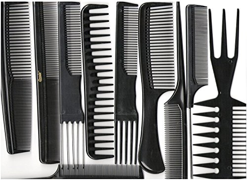 Annie Professional Comb Set 10Ct Black - Professional Black Comb