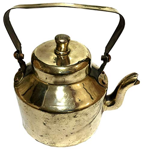 Antiques World Indian Hand Crafted Collectible Brass Old Vintage 1930s Solid Brass Teapot Country Kitchen Decor Home Wares, Gold Tone Tea (Chai) / Coffee Kettle AWUSABI 034