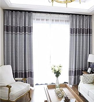 PEIWENIN Schlafzimmer Vorhänge modern fertig Wohnzimmer Vorhänge Küche  Fenster Vorhänge, Single, Breite: 250 cm * Höhe: 260 cm, grau