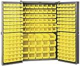 Akro-Mils HD4824 F Heavy Duty Steel Louvered Storage Cabinet with 228 Yellow AkroBins, 48'' W x 24'' D x 78'' H