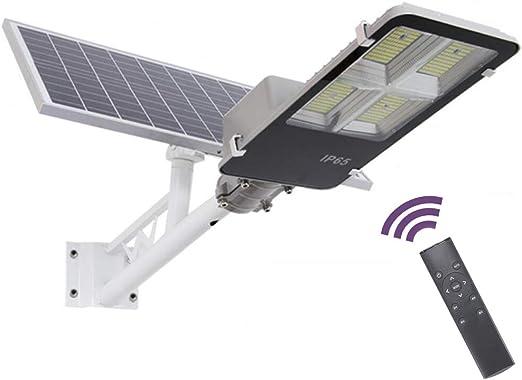 SUPERU Farola Solar LED para Exteriores, Atardecer hasta el Amanecer IP65 Impermeable Temporización Farola Solar Atenuación de 5 Niveles con Poste, Control Remoto (100Watt): Amazon.es: Jardín