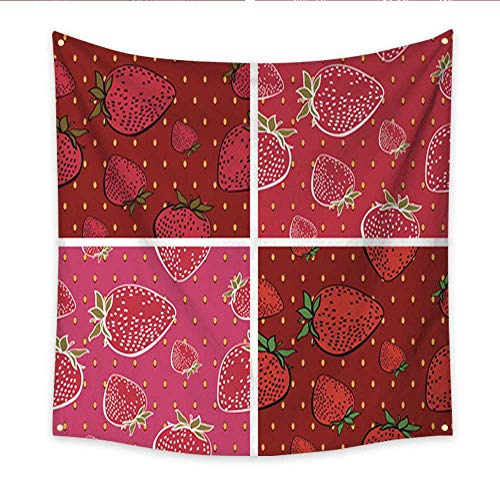 (Anniutwo Decor Tapestry Seamless Background with Bright Strawberry Pattern in Set Living Room Bedroom Dorm Decor in 47W x 47L)