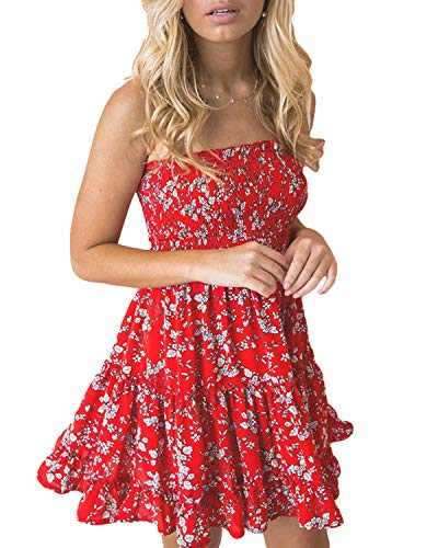 LOMON A-Line Dresses for Women Floral Printed Strapless Ruffle Dress (Red,M) ()