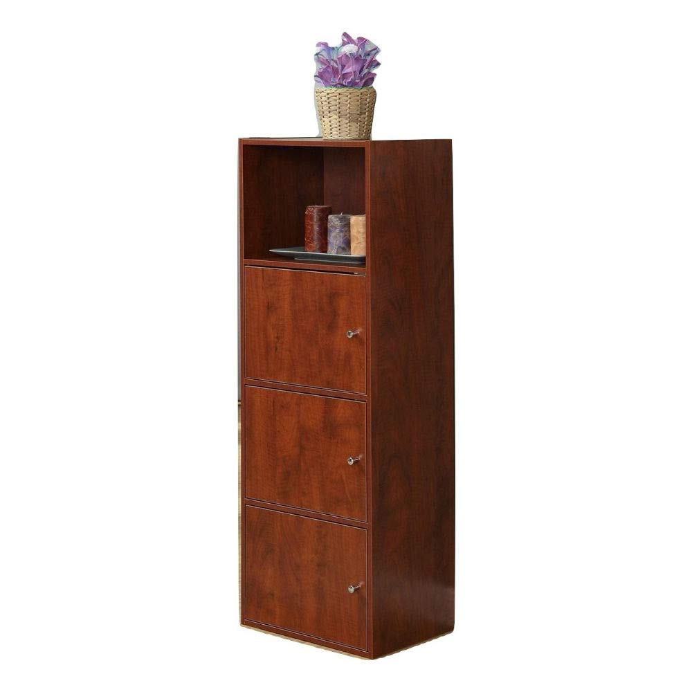 Sideboard Buffet with 3 Doors Wood Storage Floor Hall Cabinet Dark Cherry Tall 4 Shelf Cabinet & e-Book by jn.widetrade.