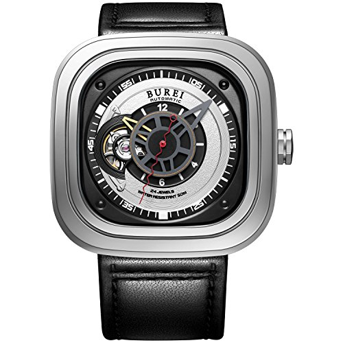 BUREI Men's Automatic Watch Square Black with Sapphire Crystal Glass and Leather Strap