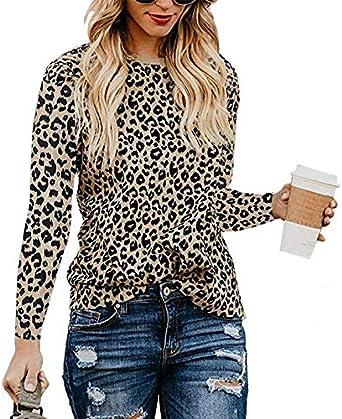 CLOOM Mujer Camisetas y Tops Leopardo Impresión, Trajes y Blazers Gasa de Manga Larga Blusas Casuales de Mujer Cuello Redondo Talla Grande Desgastar Invierno Base: Amazon.es: Ropa y accesorios