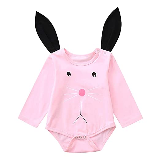 4d611740b1bb Lurryly❤Baby Girls Boys Cartoon Rabbit Ear Hooded Romper Jumpsuit Bodysuit  Outfits 0-2T at Amazon Women s Clothing store