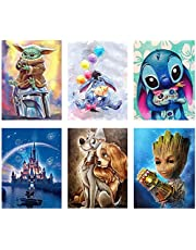 6 Pack 5d Diamond Painting Kits for Adults Kids,DIY Full Drill Diamond Art Kit Painting with Diamonds Crystal Rhinestone Cross Stitch Cartoon Picture Arts and Crafts for Beginners (9.8 X 13.8 Inch)