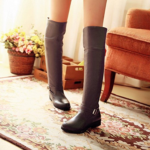 Carolbar Womens Buckle Fashion Simple Casual Comfort Low Heel Tall Boots Brown kvAcYsWK
