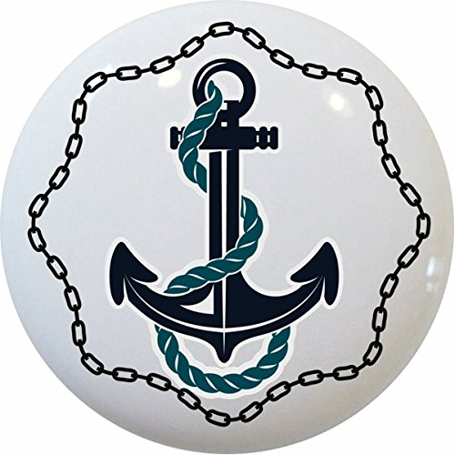 Carolina Hardware and Decor 2321 Anchor with Chain Border Nautical Ceramic Cabinet Drawer Knob