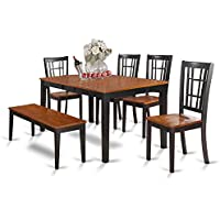 East West Furniture NICO6-BLK-W 6-Piece Dining Table Set