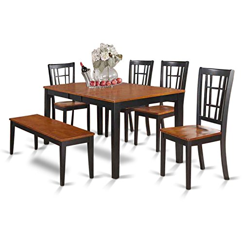 East West Furniture NICO6-BLK-W 6-Piece Dining Table (Farmhouse Extension Table)