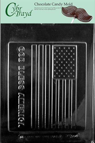 Cybrtrayd P024 God Bless America Large Flag Chocolate Candy Mold with Exclusive Cybrtrayd Copyrighted Chocolate Molding Instructions plus Optional Candy Packaging Bundles