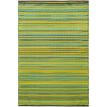 Fab Habitat Cancun Indoor/Outdoor Rug, Lemon U0026 Apple Green, (4u0027
